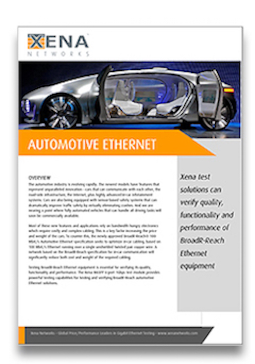 White Paper Automotive Ethernet - Xena Networks white papers