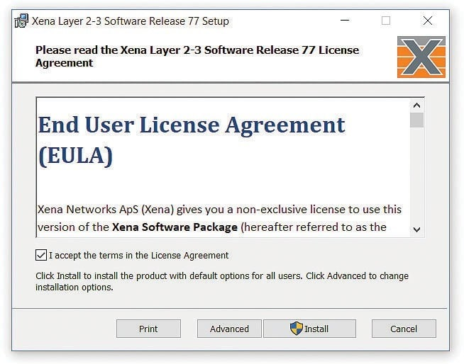 Xena end user license agreement window